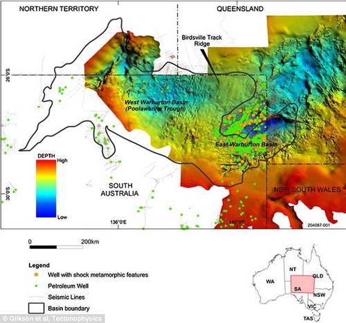 Место падения астероида в Австралии