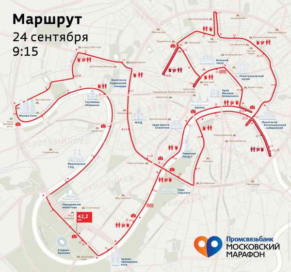 Маршрут Московский марафон