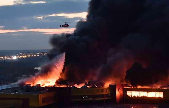 Пожар ТЦ Синдика рынок Москва