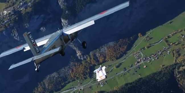 В костюме-крыло бейсджампер залетел в самолет