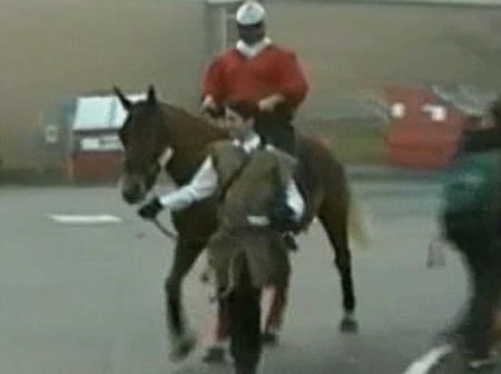 Школьник приехал на лошади