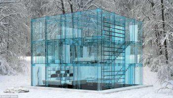 Полностью прозрачный дом, в котором все сделано из стекла