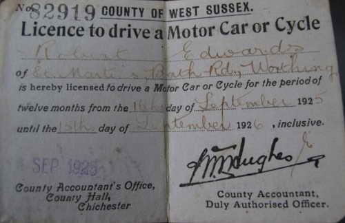 Права Боба Эдвардса - от 16 сентября 1925 года