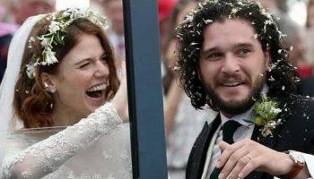 Джон Сноу женился на одичалой Роуз Лесли. Фото со свадьбы