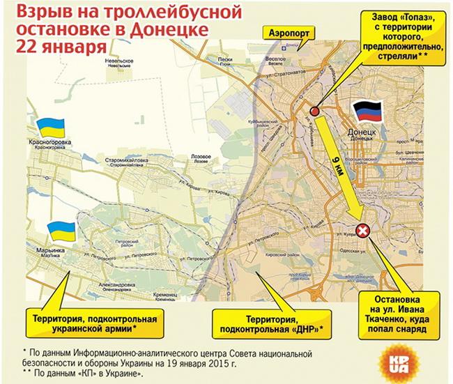 Взрыв на троллейбусной остановке в Донецке в январе 2015