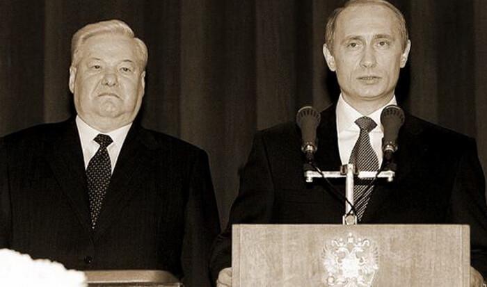 В. Путин и Б. Ельцин