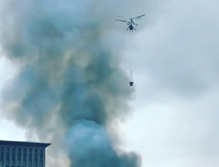 Пожар в центре Москвы на Павелецкой и Дубининской