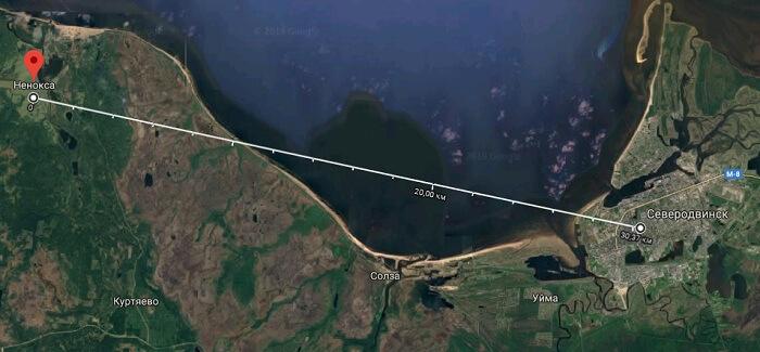 Расположение полигона Нёнокса относительно Сверодвинска