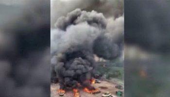 Взрыв цистерны с газом в Китае привел к гибели 19 человек. Видео