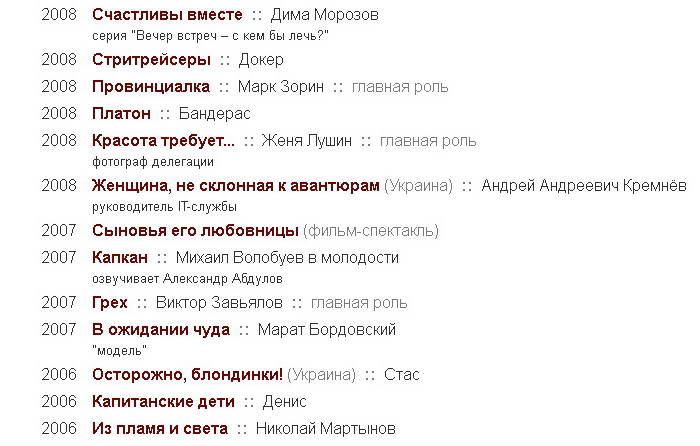 Стас Бондаренко. Фильмография за 2006, 2007 и 2008 года